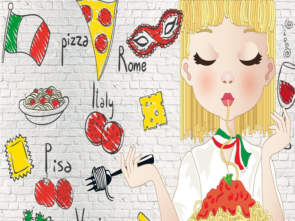 小清新美味手绘快餐食物背景墙