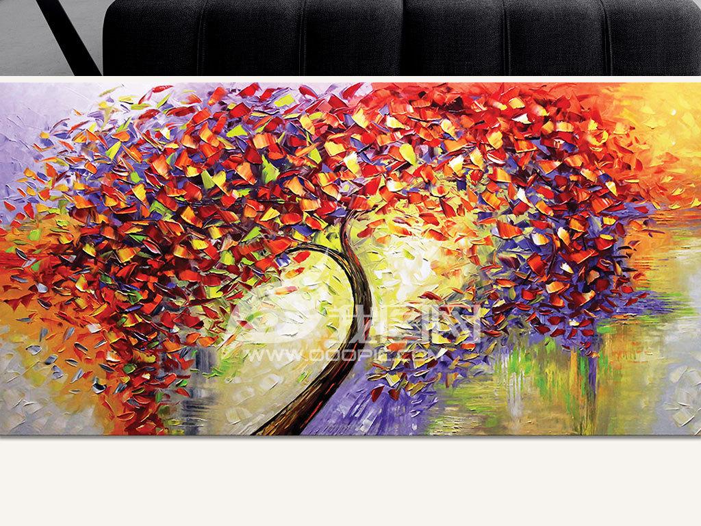 电视背景墙 油画|立体油画电视背景墙 > 炫彩发财树摇钱树手绘刀画