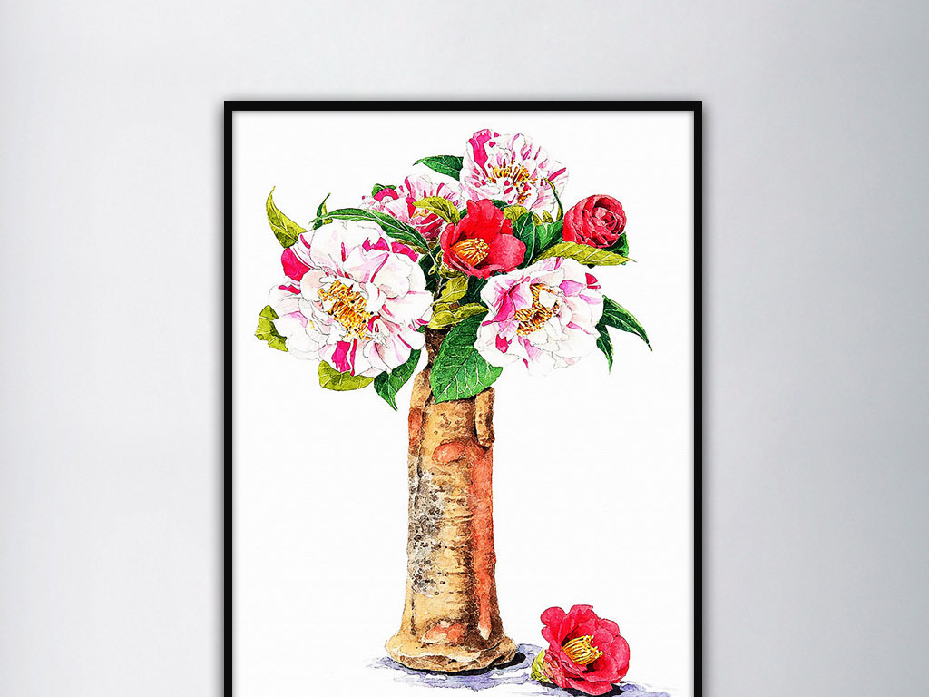 山茶花现代日韩手绘小清新治愈系现代装饰画图片设计素材 高清模板下