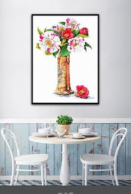 山茶花现代日韩手绘小清新治愈系现代装饰画-客厅 日韩图片素材 客厅