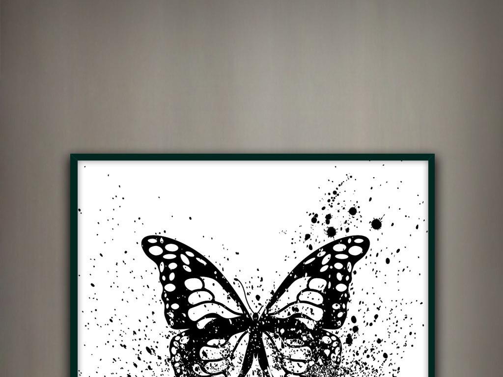 背景墙|装饰画 无框画 动物图案无框画 > 蝴蝶轻舞飞扬黑白水墨写意