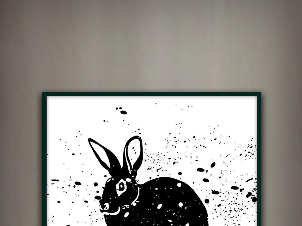 兔子黑兔野兔手绘黑白水彩水墨新中式装饰画