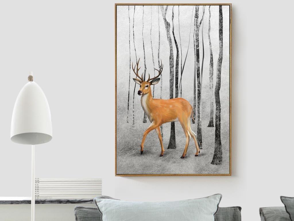 极简黑白装饰画餐厅挂画卧室画滑稽动物抽象创意单幅装饰画有框画餐厅