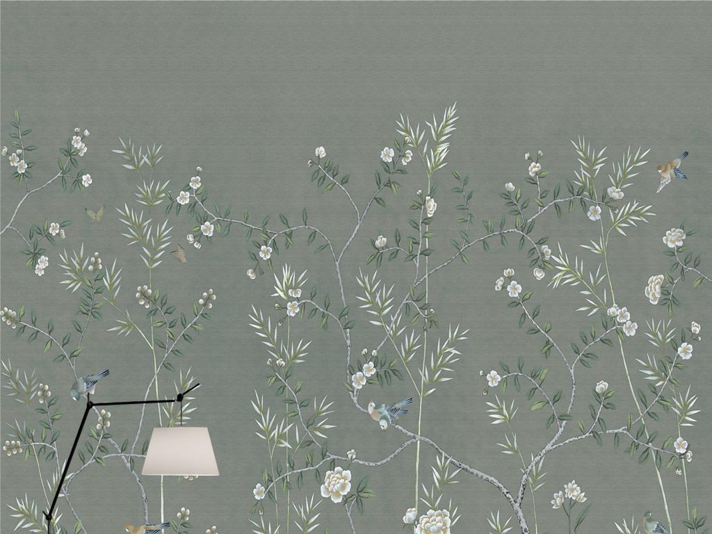 欧式复古手绘工笔花鸟新中式壁画壁纸背景墙