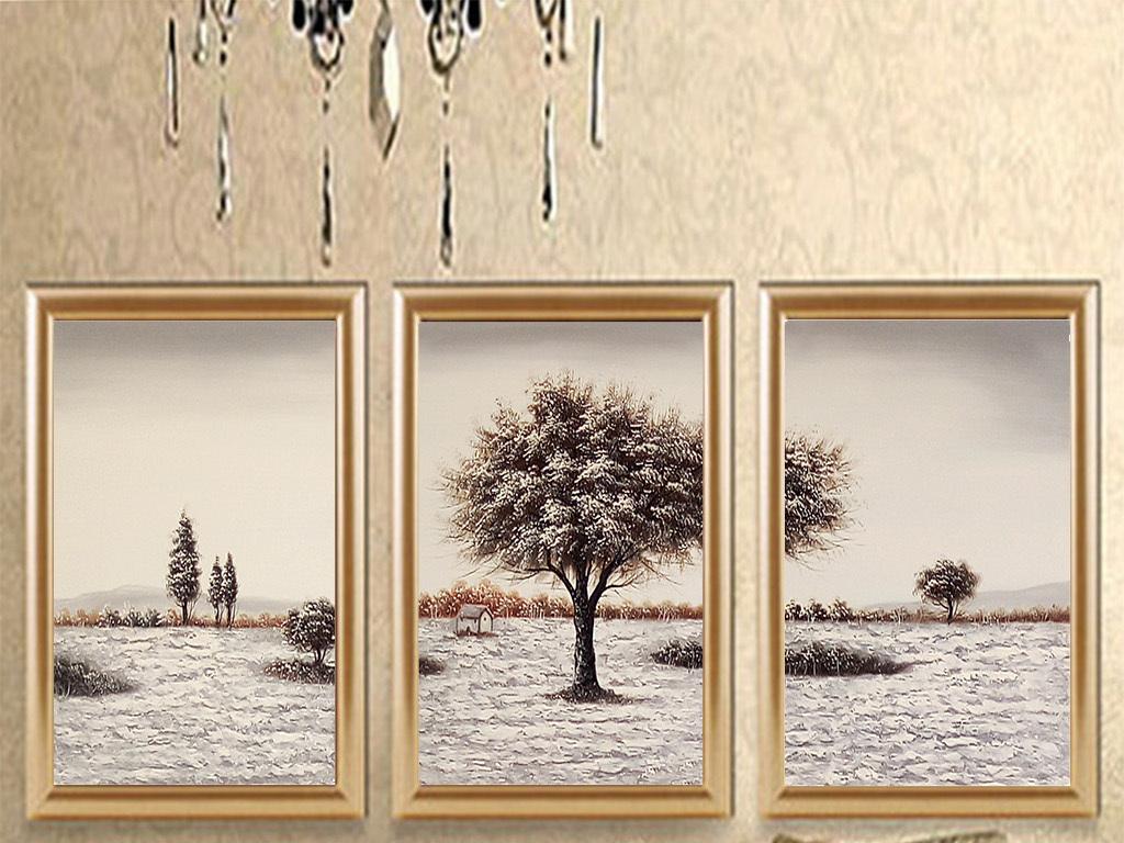 背景墙|装饰画 无框画 风景无框画 > 唯美雪中大树高清三联画  版权