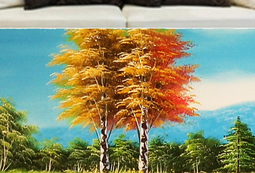 碧水蓝天草地小花树林发财树幸福树远山雪山风景画装饰画高