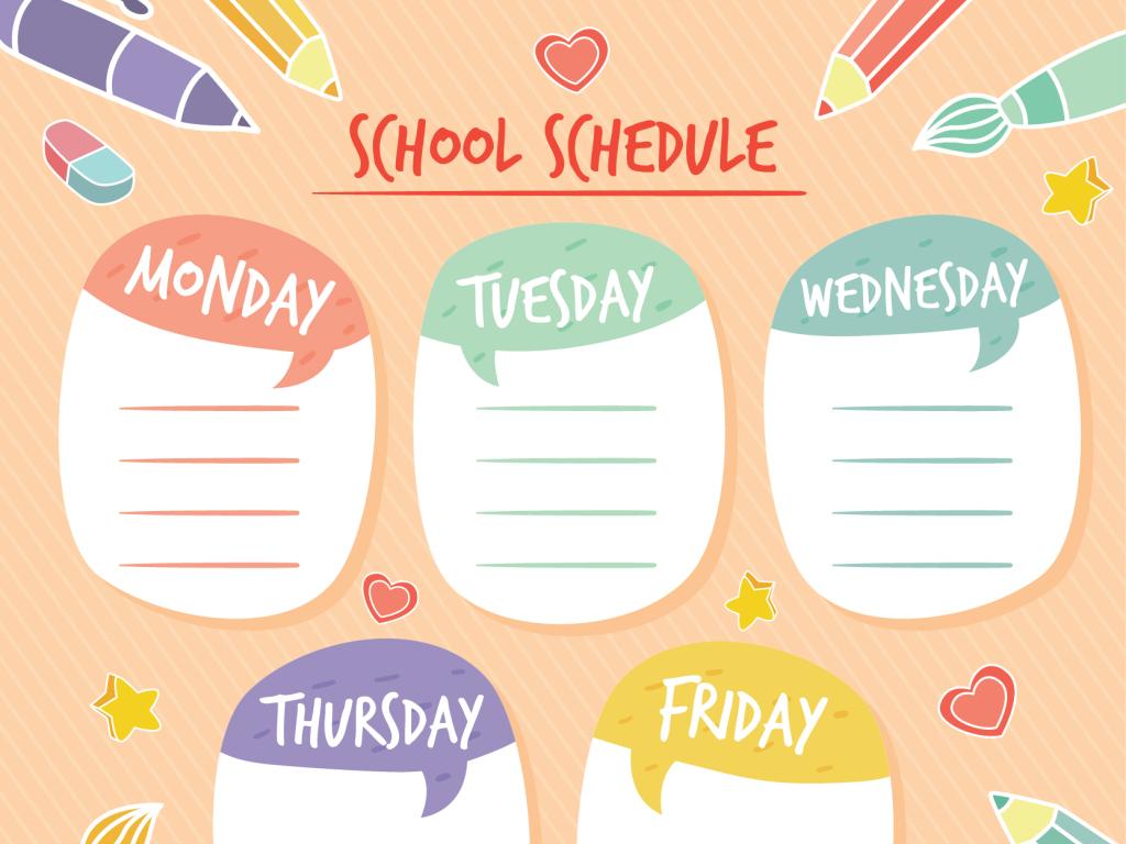 手绘学校日程模板学习日程表