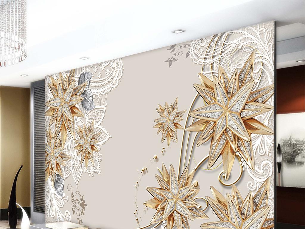 壁画墙画墙绘欧式墙壁装饰室内装修背景墙分层素材多角星蕾丝抽象背景