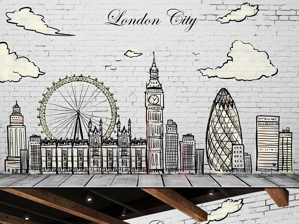 欧美淡雅做旧手绘素描城市街景图片