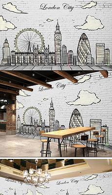 欧美淡雅做旧手绘素描城市街景-城市浮雕图片素材 城市浮雕图片素材图片