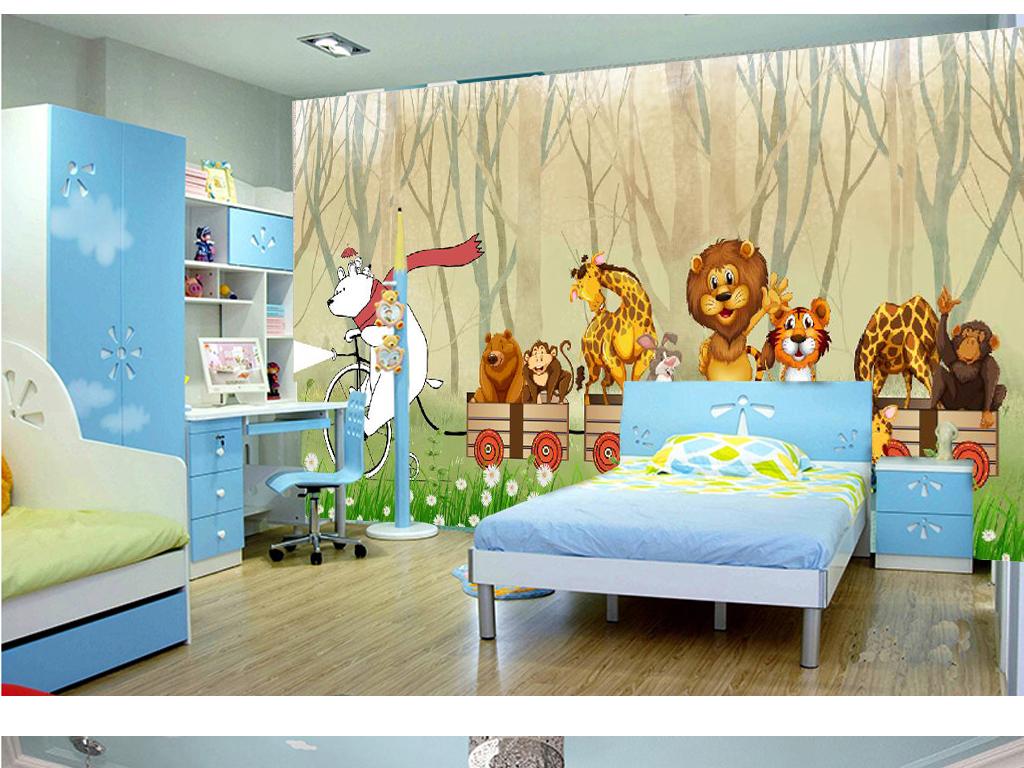 森林卡通火车动物儿童房背景墙