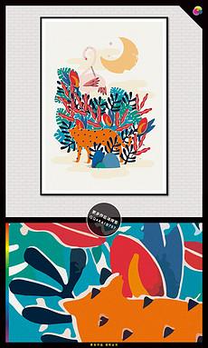 手绘现代简约北欧动物插画装饰画