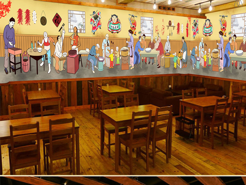 手绘传统饭店餐厅火锅背景墙