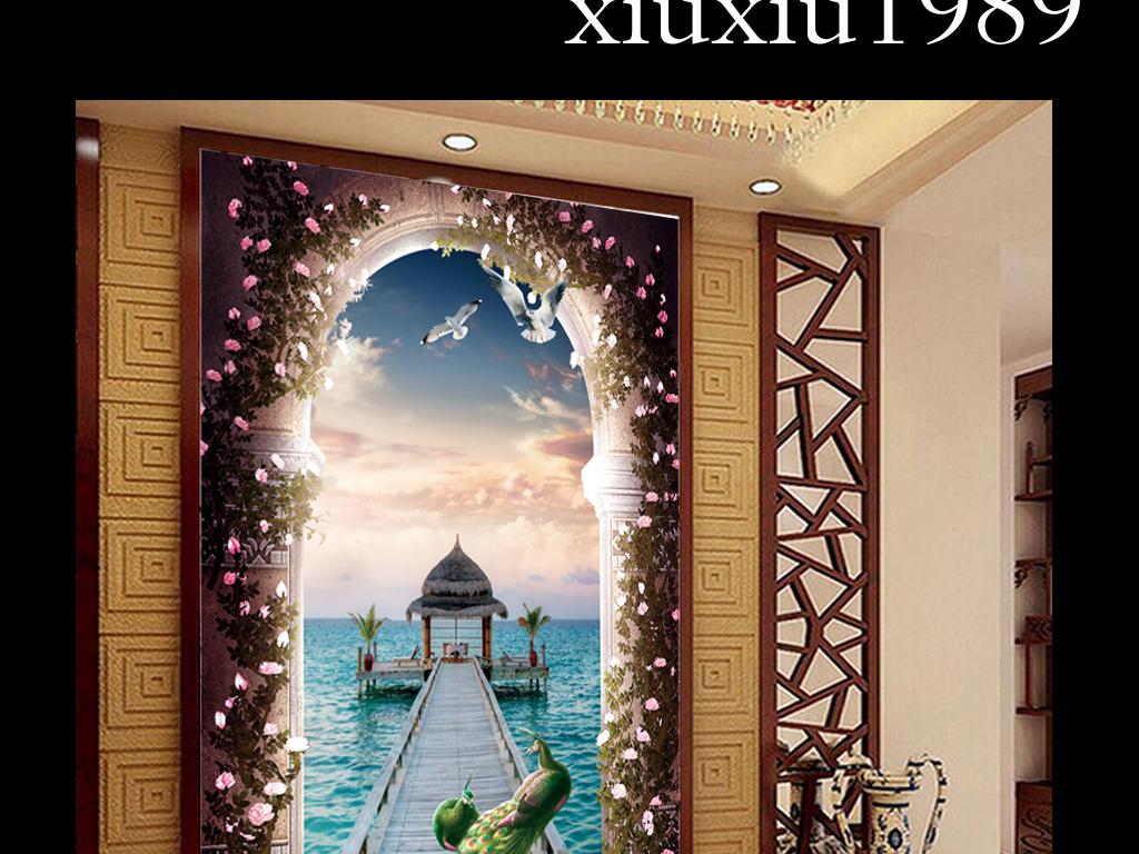 拱门柱子立体玄关大桥海水天空玄关欧式