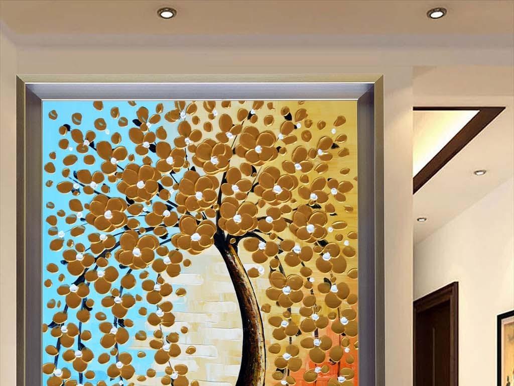 高清画质立体油画发财树艺术玄关