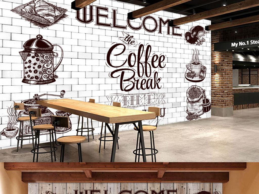 复古木纹字母咖啡厅背景墙图片