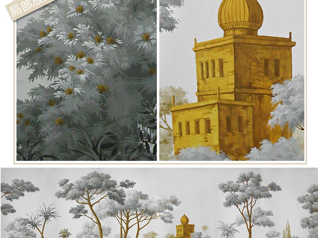 手绘欧式中世纪西洋画背景墙装饰画