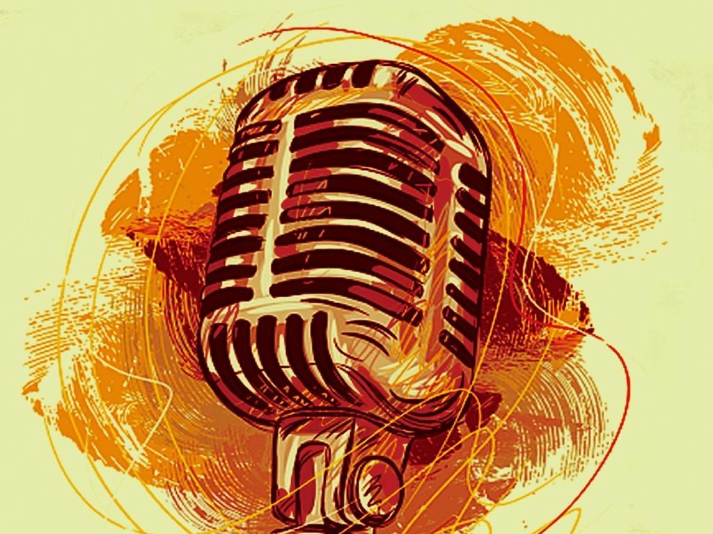 手绘水彩创意涂鸦广播站招新海报模板