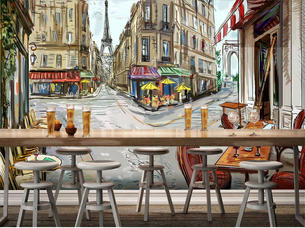 手绘欧美街景大型壁画