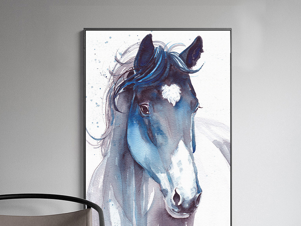 北欧装饰画水彩马