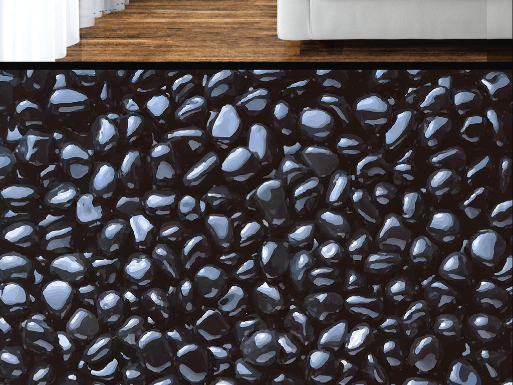 现代简约黑色石头墙纸
