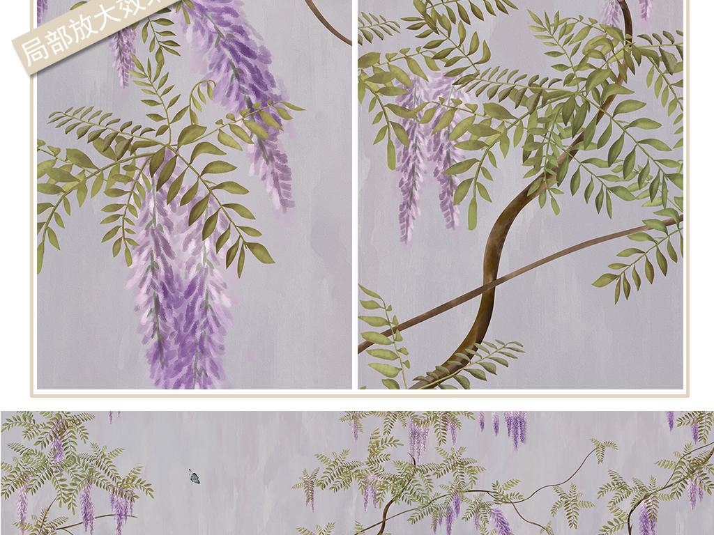 手绘中式紫藤花背景墙装饰画