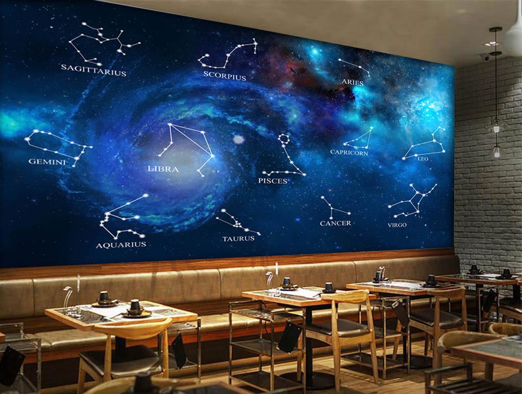 蓝色星空十二星座酒吧ktv电视背景墙