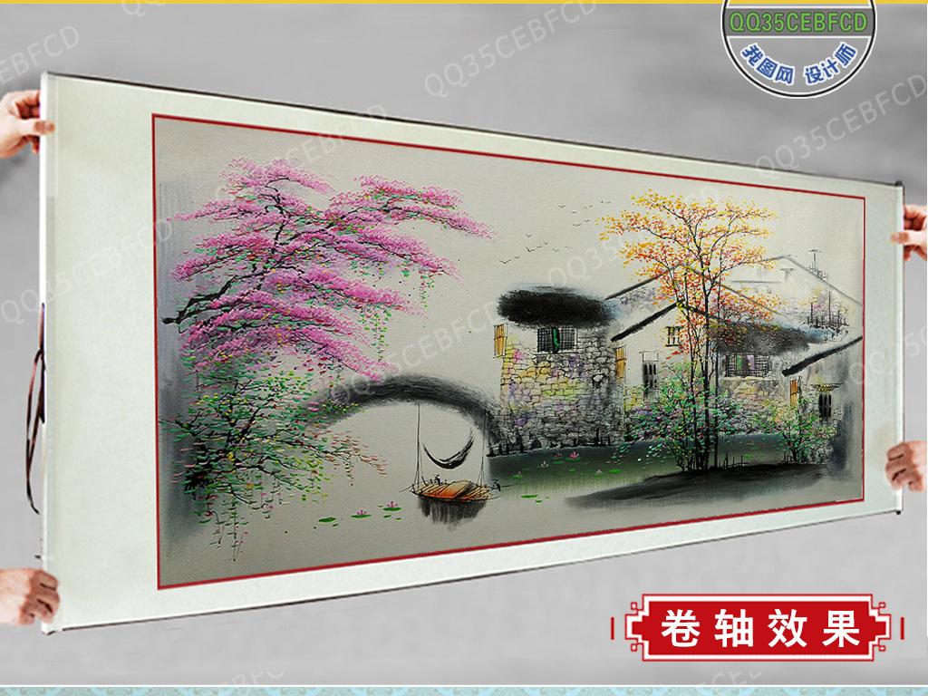 江南水乡油画风景