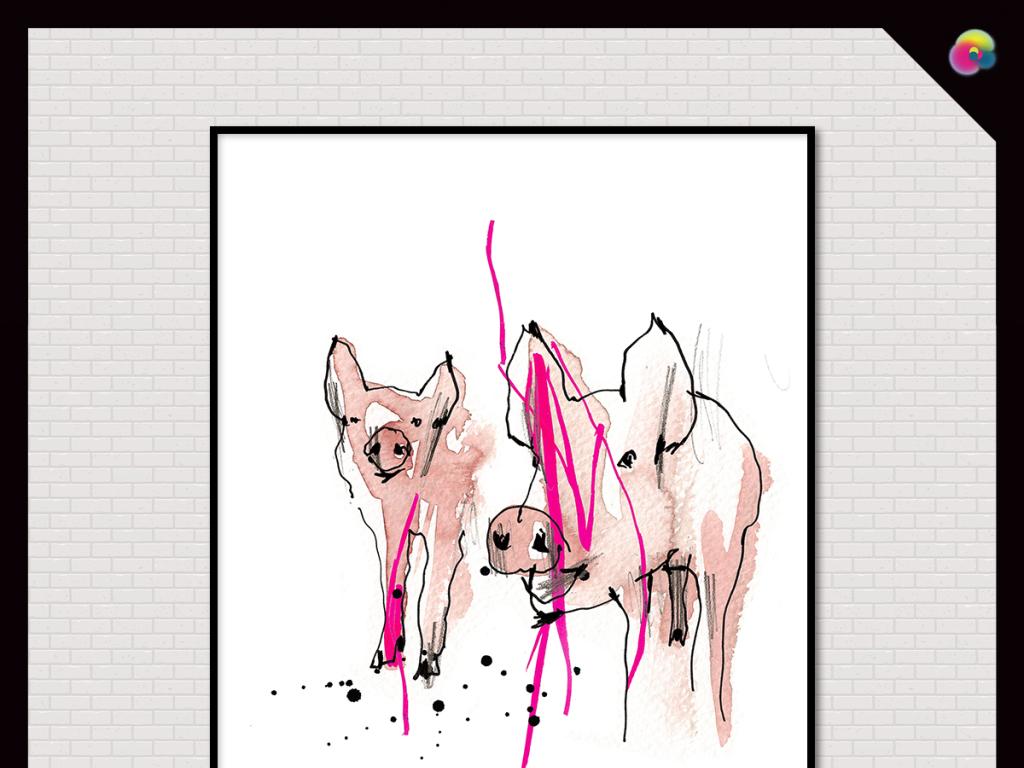 动物绘画客厅卧室玄关水彩抽象花鸟图手绘猪艺术乡村田园淡彩餐厅咖啡
