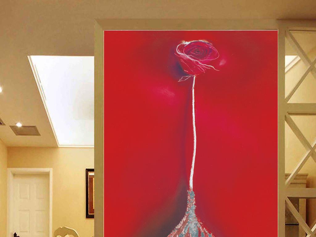 5抽象大红色底一朵玫瑰图片