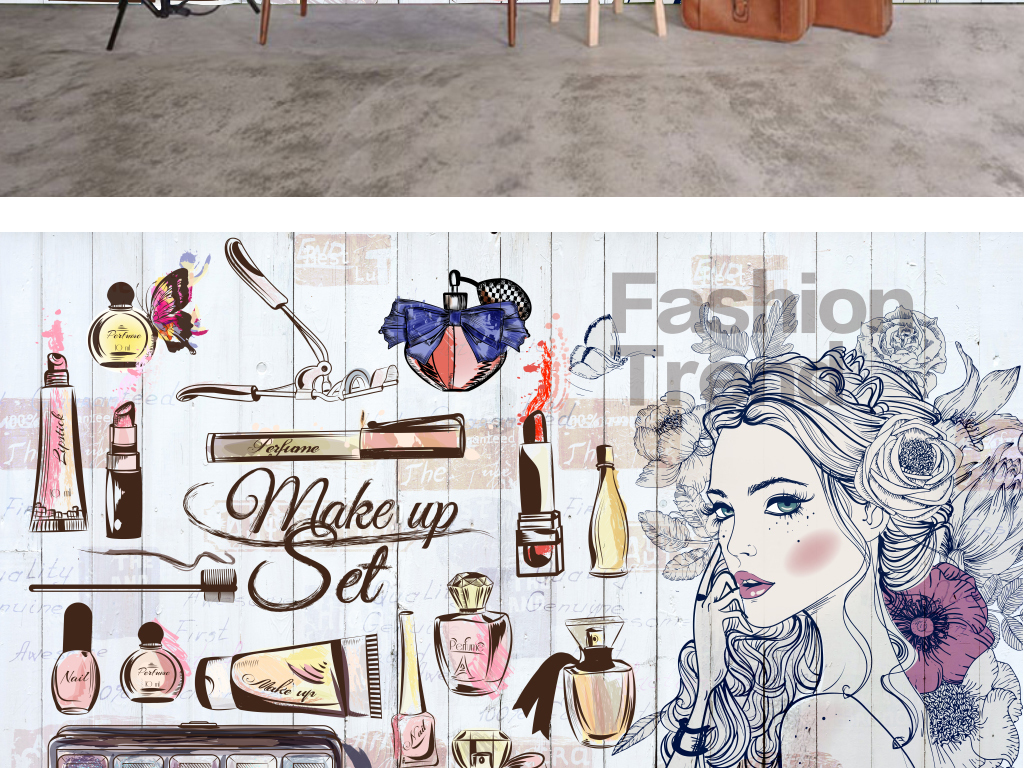 店手绘女孩服装店背景墙装饰画素材下载,作品模板源文件可以编辑替换
