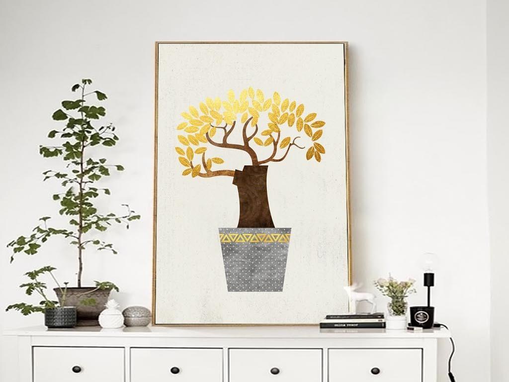 北欧简约抽象发财树装饰画有框画客厅挂画