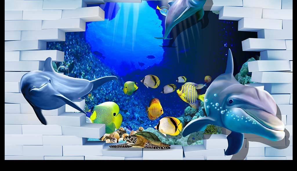 3d立体海底世界海豚电视背景墙装饰画手绘