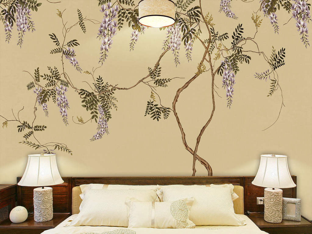 新中式中国风手绘工笔紫藤紫藤藤萝紫色花