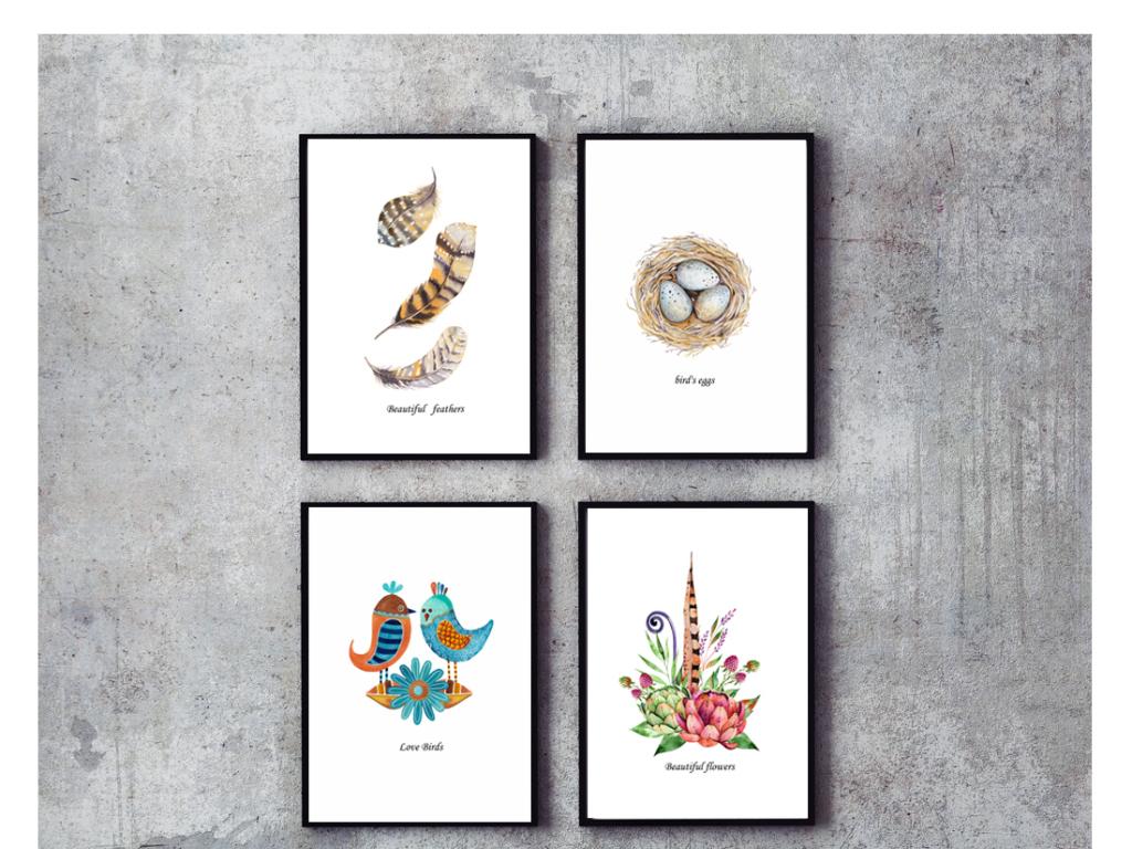 无框画 动物图案无框画 > 北欧简约小鸟鸟窝羽毛水彩植物装饰画