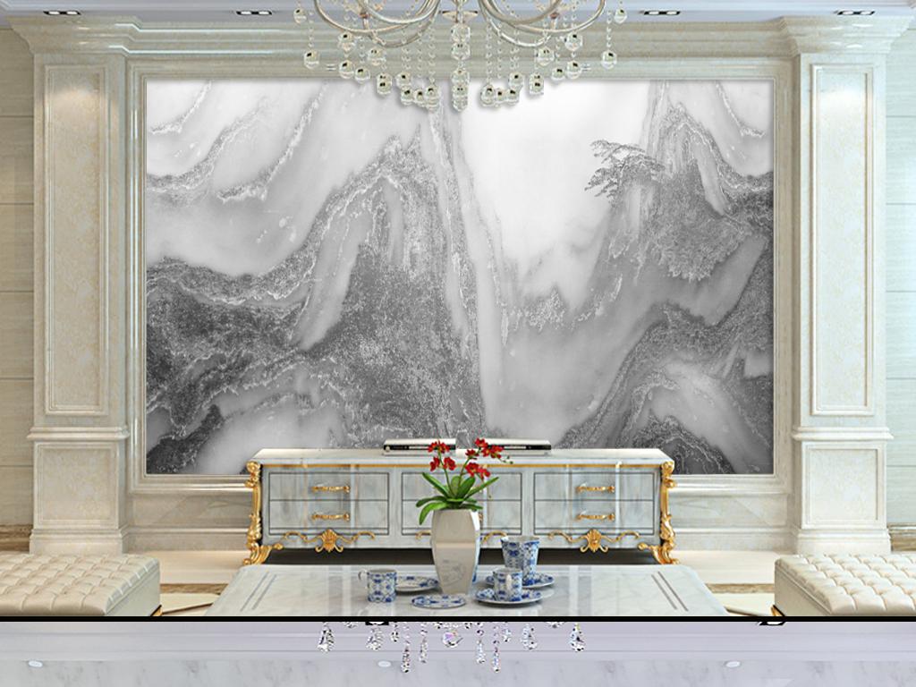 黑白山水大理石电视背景墙