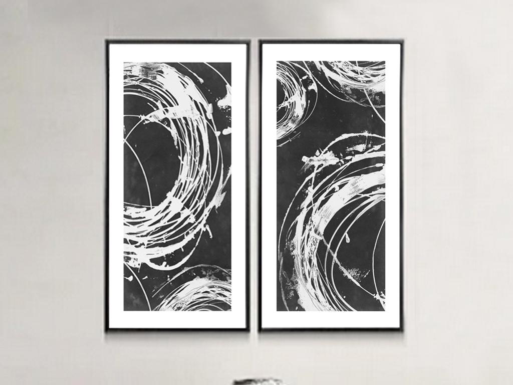 中式水墨抽象图案黑白挂画
