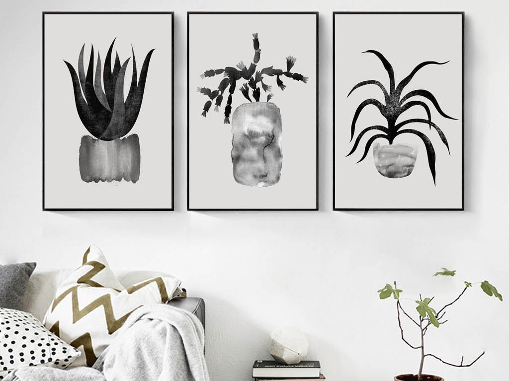 植物客厅三联植物装饰画抽象无框画北欧无框画抽象画欧式