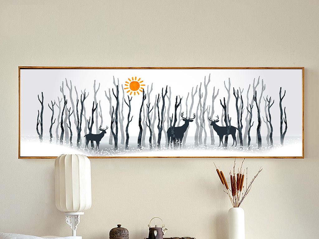 北欧风格简约抽象树林麋鹿装饰画