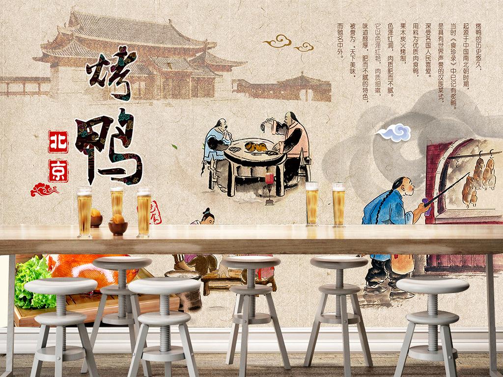 工装背景墙 酒店|餐饮业装饰背景墙 > 北京烤鸭餐厅手绘民俗壁画背景