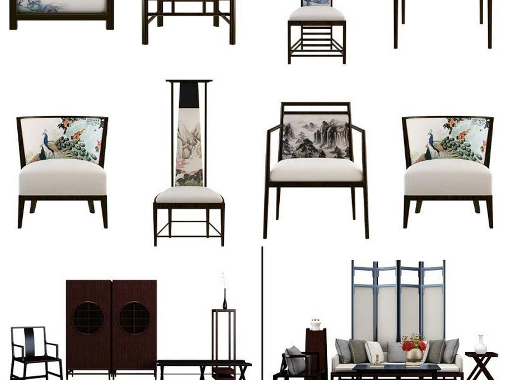 设计作品简介: 精选新中式3dmax室内家具陈设模型,,使用软件为 3dmax