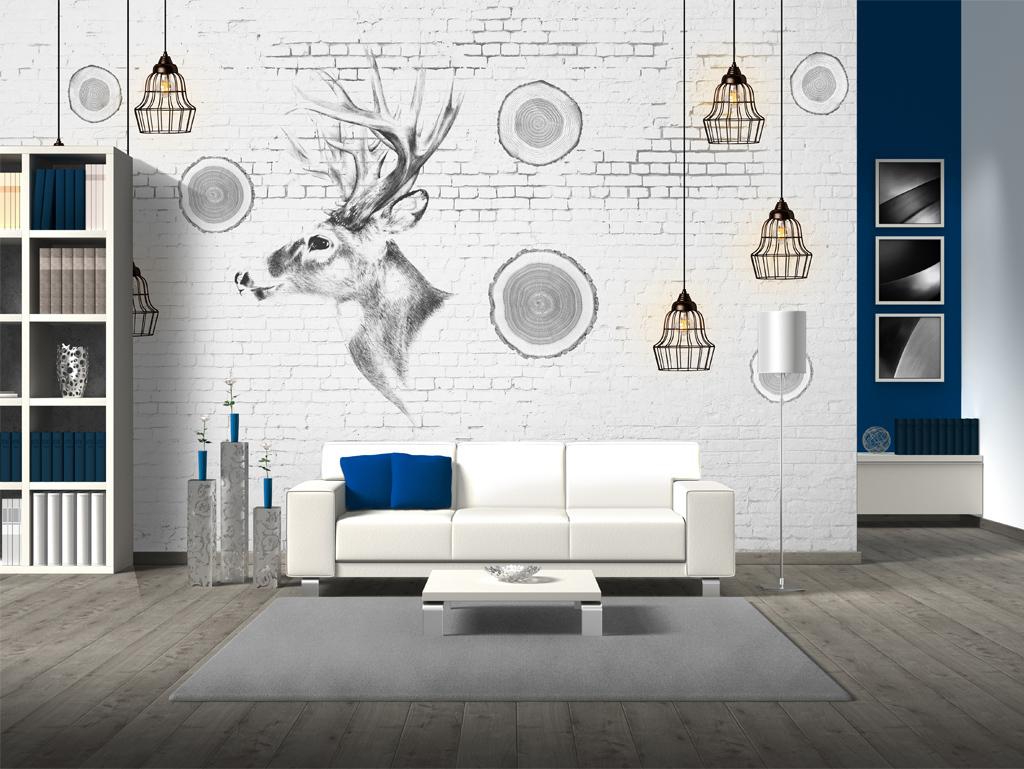 背景墙|装饰画 电视背景墙 手绘电视背景墙 > 北欧手绘麋鹿艺术背景墙