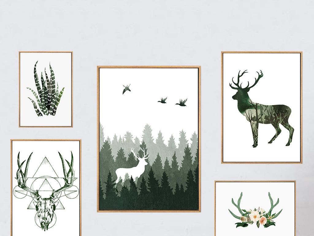 北欧小清新麋鹿组合装饰画现代简约挂画(图片编号:)图片