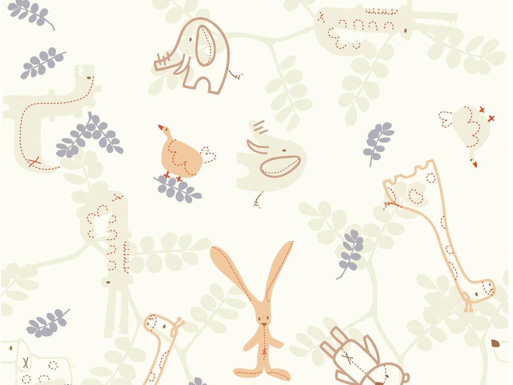 手绘卡通动物元素墙纸壁纸