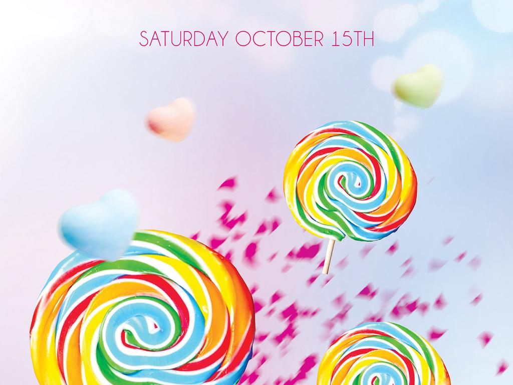 梦幻唯美甜蜜糖果派对生日聚会宣传海报