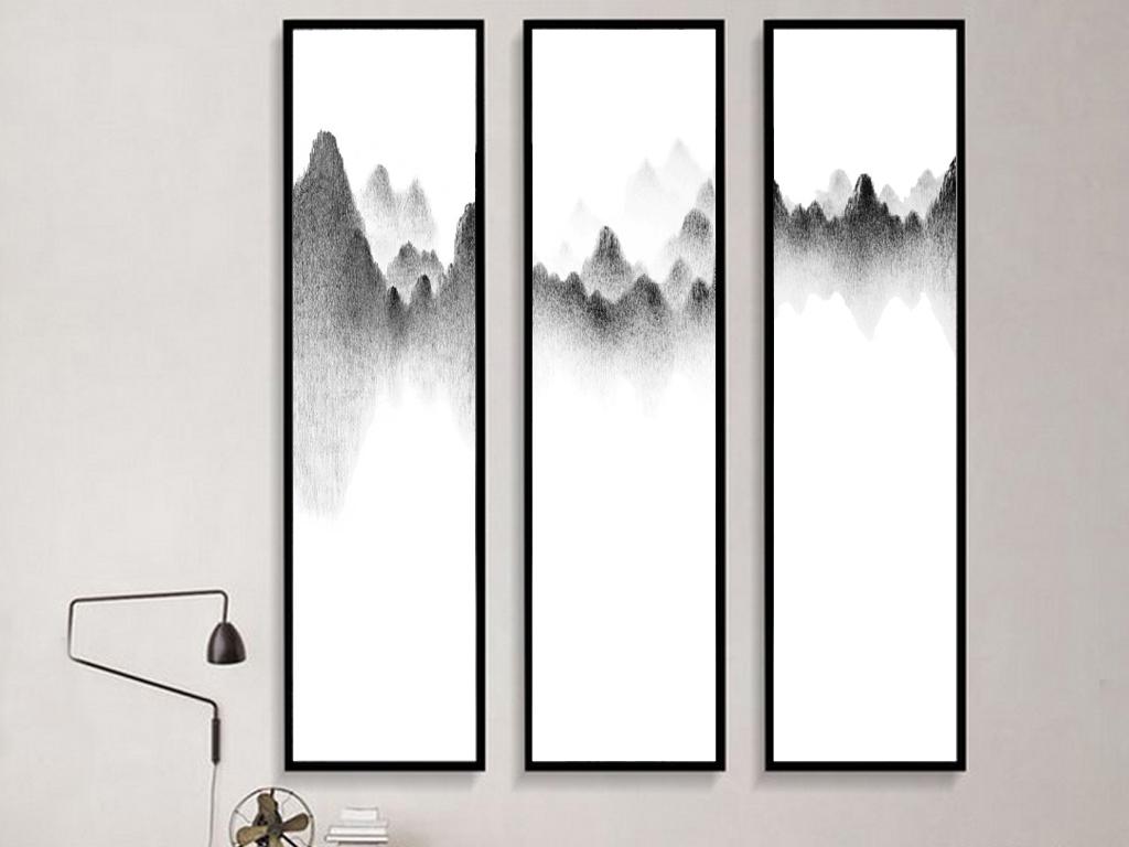新中式手绘水墨黑白山峰群山意境图
