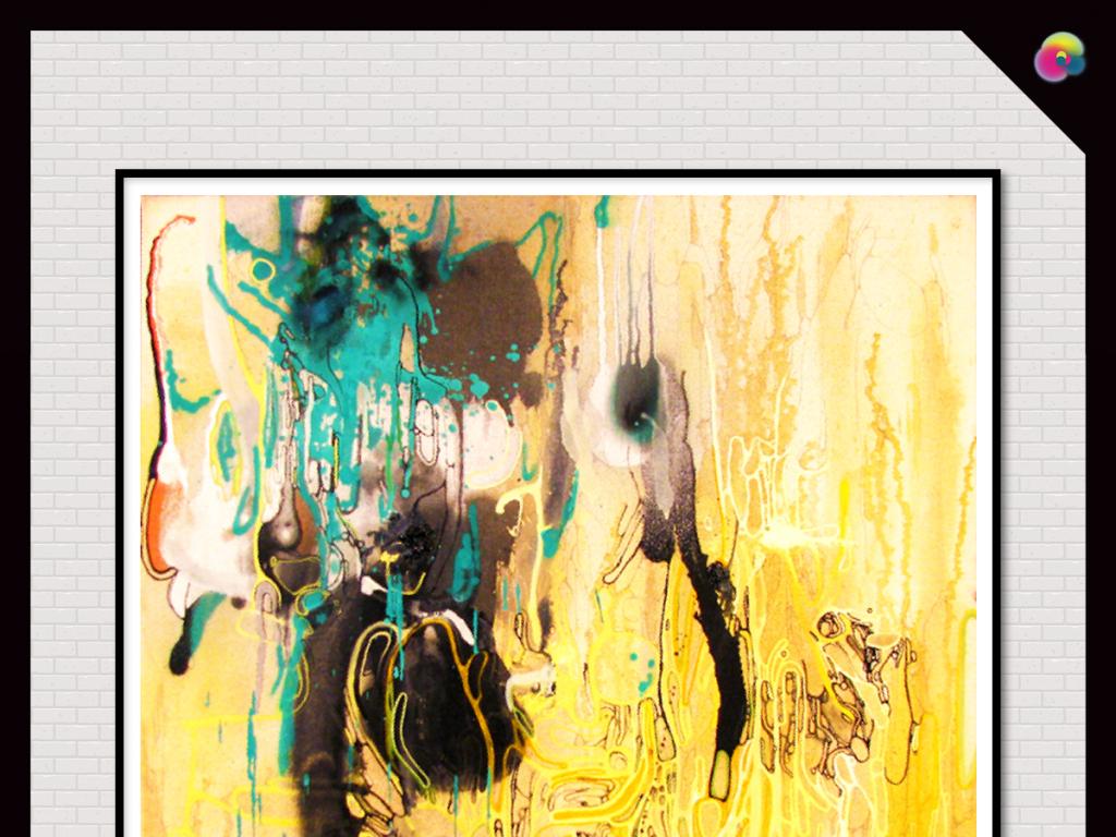 小清新动感抽象线条拼接抽象油画装饰画