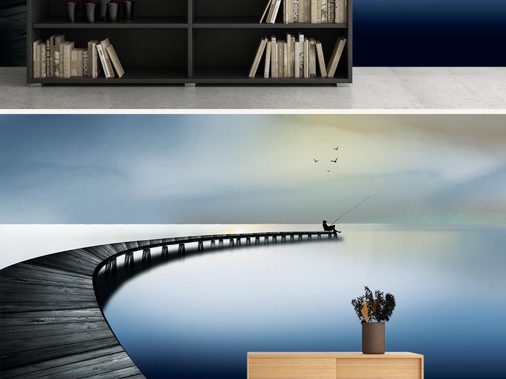 中式意境3d湖面木桥风景背景墙壁画