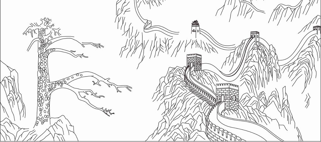 长城图片简单手绘