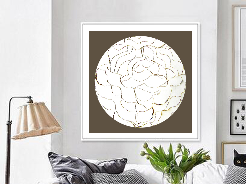 白色抽象花卉纹理树皮图案装饰画